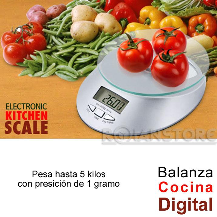 Balanza digital de cocina con base de vidrio 1gr a 5kg - Balanza cocina digital ...