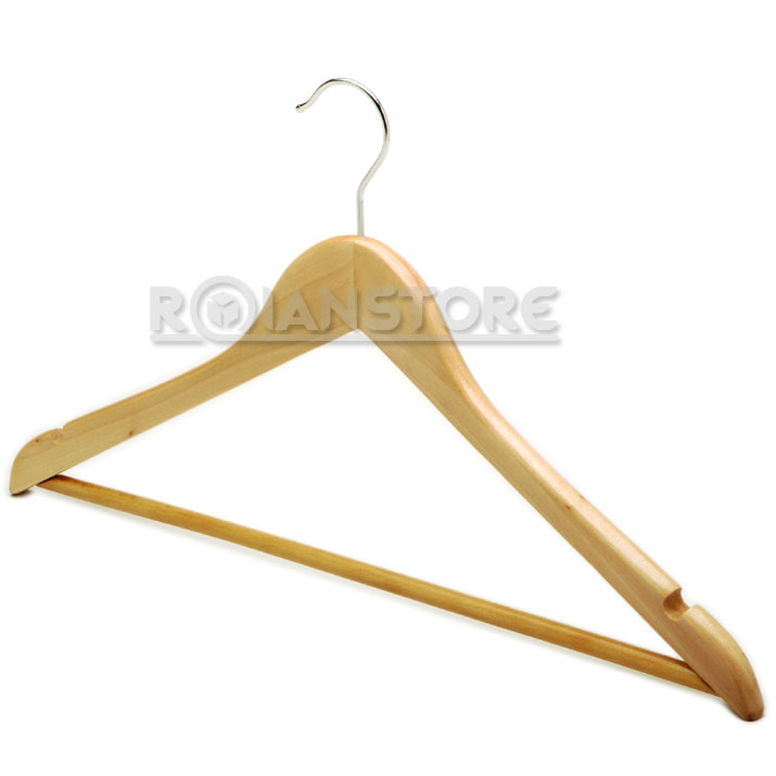 Colgador perchero de madera para ropa poleras pantalones for Gancho perchero pared